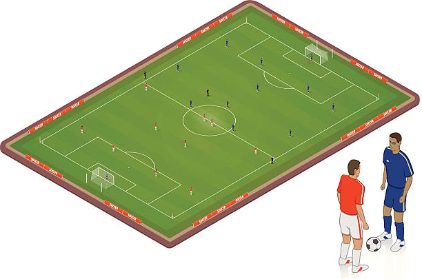 Isometric Soccer Pitch vector art illustration
