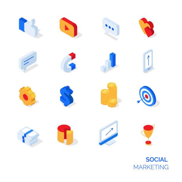 ilustraciones, imágenes clip art, dibujos animados e iconos de stock de isométrica conjunto de iconos de marketing social. - íconos 3d