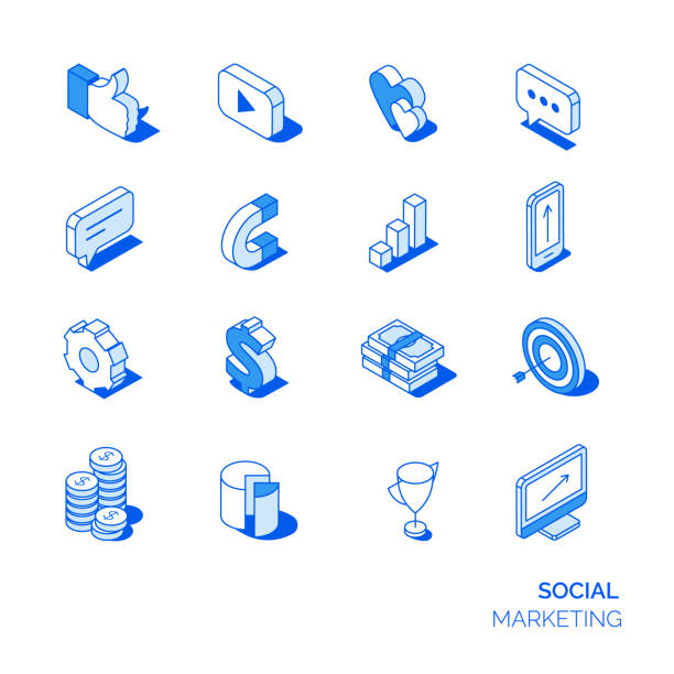 isometrische social marketing-icons set. - isometric icons stock-grafiken, -clipart, -cartoons und -symbole