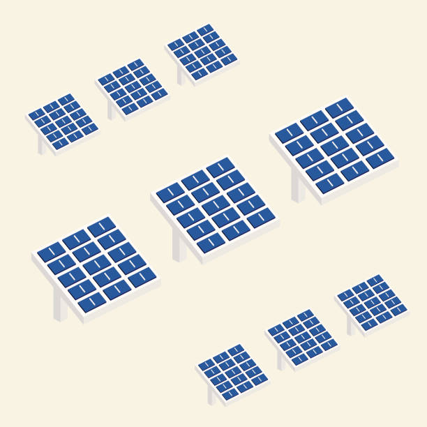 isometrische sonnenkollektoren - solaranlage stock-grafiken, -clipart, -cartoons und -symbole