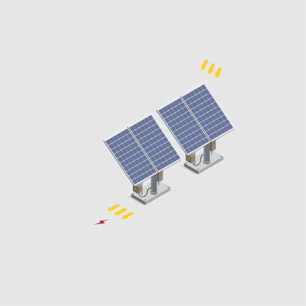 ilustrações de stock, clip art, desenhos animados e ícones de isometric solar power cells - solar panel