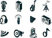 Isometric Sound and Audio Icons