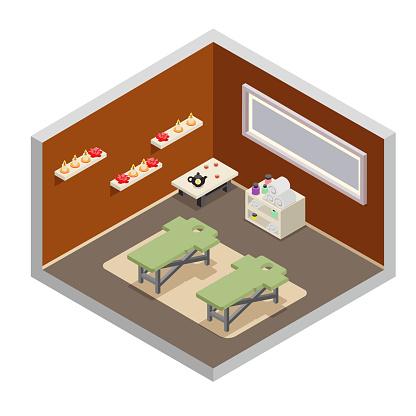 Isometric spa resort room massage equipment design flat vector illustration
