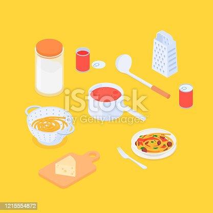Making spaghetti set. Isometric vector illustration in flat design.