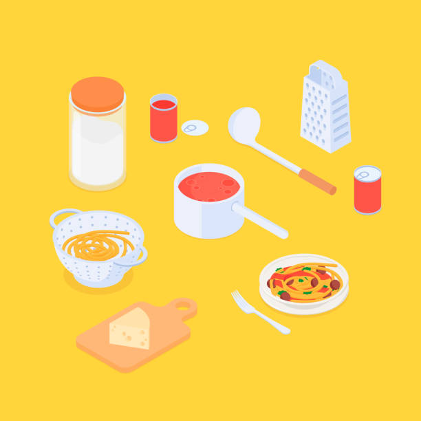 Isometric spaghetti set Making spaghetti set. Isometric vector illustration in flat design. tomato sauce stock illustrations