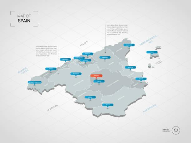 isometrische spanien karte mit städtenamen und verwaltungsstruktur. - spanien stock-grafiken, -clipart, -cartoons und -symbole