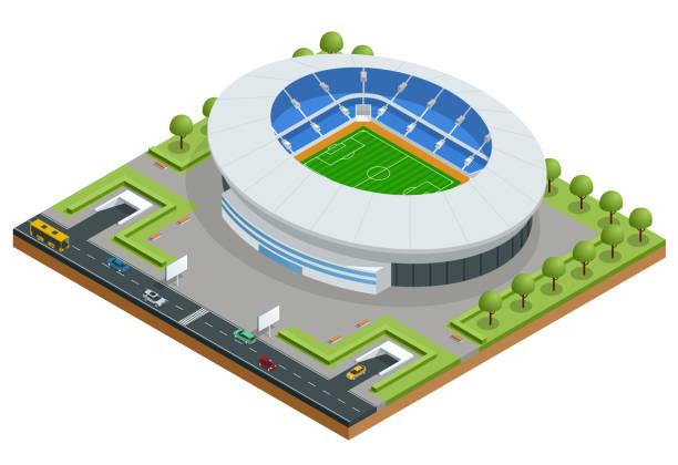 等尺性のスポーツ スタジアム。サッカー サッカー スタジアム建築ベクトル イラスト。 - スタジアム点のイラスト素材/クリップアート素材/マンガ素材/アイコン素材
