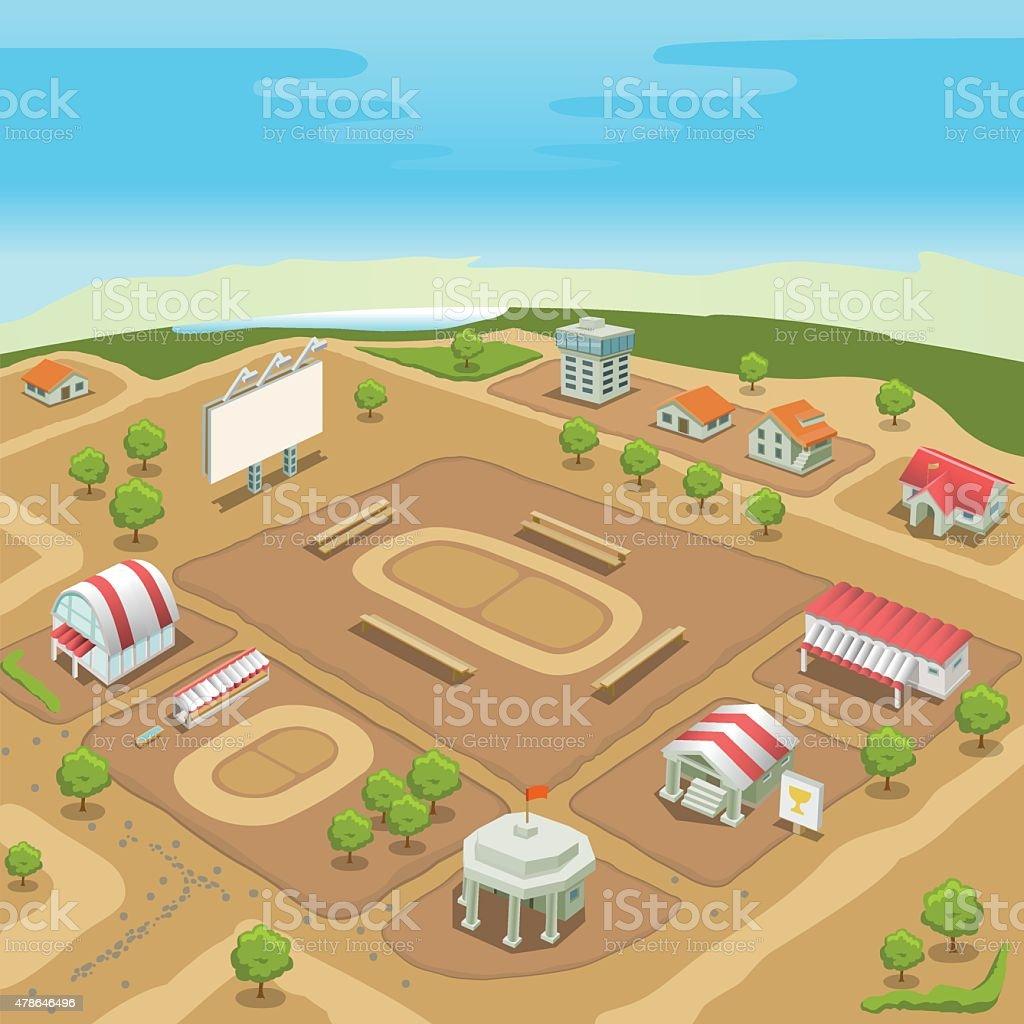 Isometric sport village. Hippodrome and stadium. vector art illustration