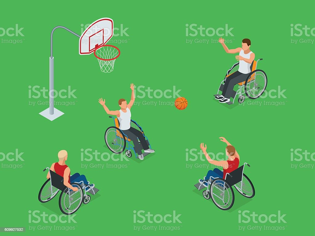 Isometric sports for peoples with disabled activity - ilustración de arte vectorial