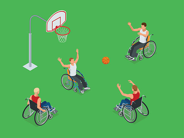 isometric sports for peoples with disabled activity - wheelchair sports stock illustrations, clip art, cartoons, & icons