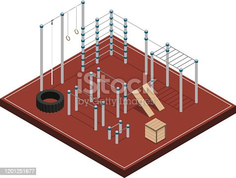 Sports ground with metal wooden and rubber workout equipment on brown covering isometric vector illustration