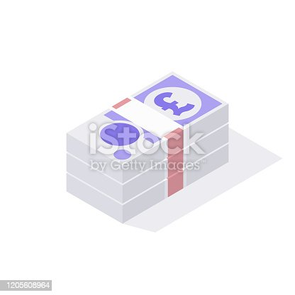 istock Isometric Stack of British GBP 20 Pound Sterling Notes Isolated on a White Background 1205608964