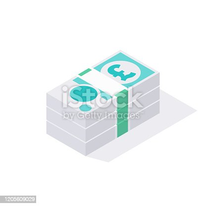 istock Isometric Stack of British GBP 5 Pound Sterling Notes Isolated on a White Background 1205609029