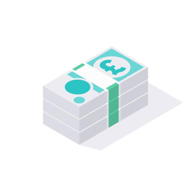 영국 gbp의 아이소메트릭 스택 5 파운드 스털링 노트 흰색 배경에 격리 - 영국 화폐 단위 stock illustrations