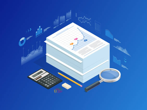 isometric stack of documents with an official stamp and pencils in a glass. a method for working in the office. bureaucracy concept. flat style vector illustration. - duża grupa obiektów stock illustrations