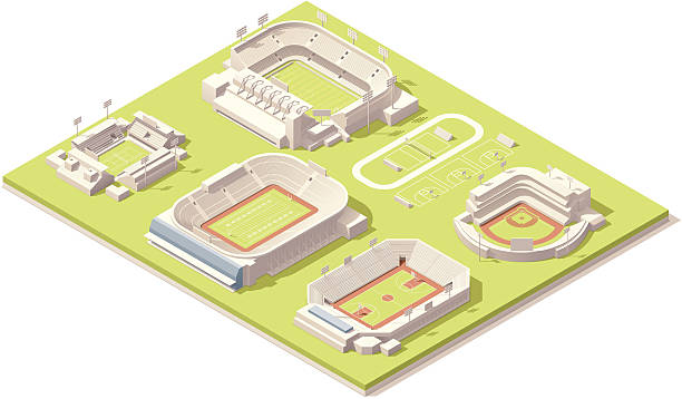 isometric stadium buildings set - baseball stadium stock illustrations, clip art, cartoons, & icons