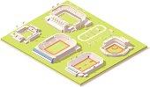 Isometric stadium buildings set
