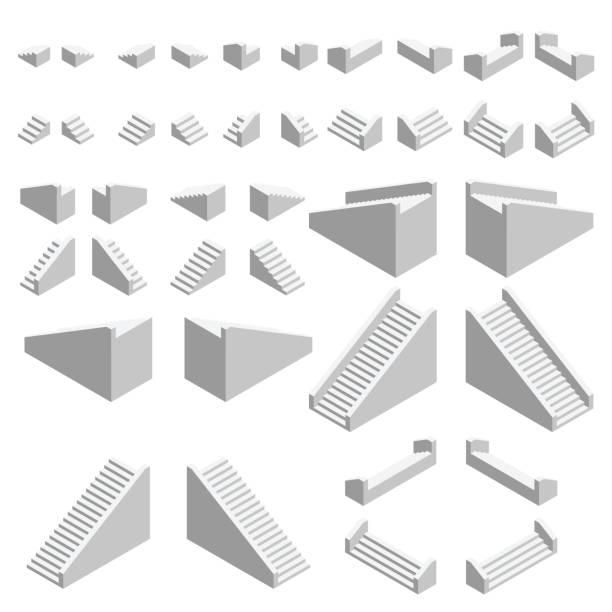 isometrische treppen gesetzt. isometrische treppen, die in alle richtungen blicken. vektor. - treppe stock-grafiken, -clipart, -cartoons und -symbole