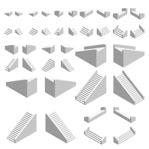 isometric stairs set. isometric stairs facing all directions. vector. - schody stock illustrations