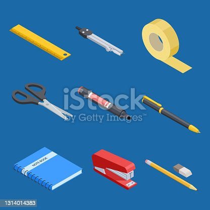 istock Isometric stationery and office tools vector elements 1314014383