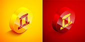 Isometric Stonehenge icon isolated on orange and red background. Circle button. Vector.