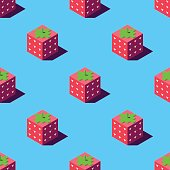 Isometric strawberries illustration.