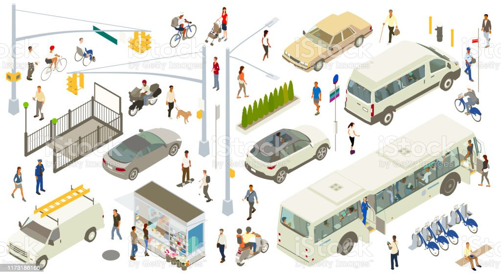 Isometric Street Icons A varied, detailed set of city street icons include traffic lights, lamppost, signs, subway entrance, fire hydrant, bike rack, newsstand, bench, manhole cover, and a row of shrubs. People are seen walking, biking, and carrying bags and jackets. A person in a wheelchair, a dog walker, police officer, a person using inline skates, and a variety of other people can be seen. People can also be seen on and inside vehicles, which include a city bus, shuttle van, SUV, sports car, 1980s-style sedan, motorcycle, moped, and bicycles. Adult stock vector