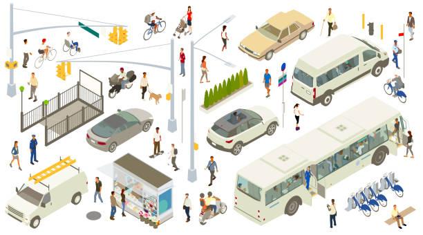 izometryczne ikony ulic - rzut izometryczny stock illustrations