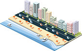 All elements were layered seperately... Easy editable isometric city vector illustration..