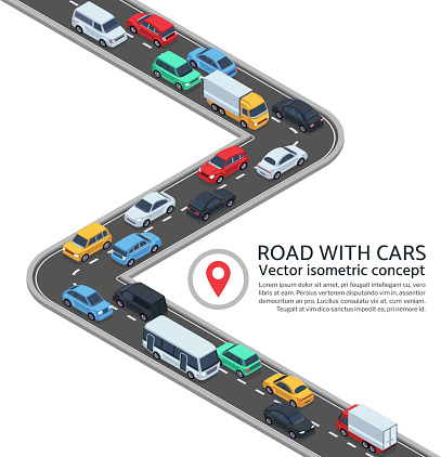 Isometric street with cars. 3d highway and vehicles vector concept