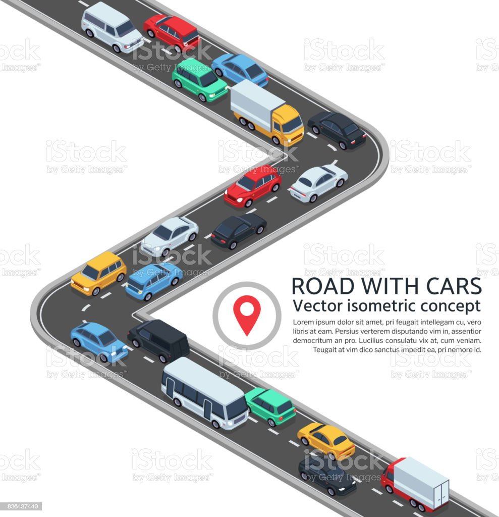 Isometric street with cars. 3d highway and vehicles vector concept vector art illustration