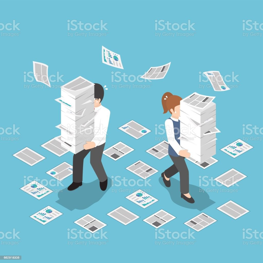 Isometric stressful businessman holding stack of paper vector art illustration