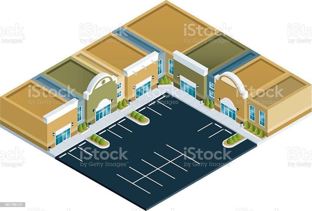 Isometric Strip Mall royalty-free stock vector art