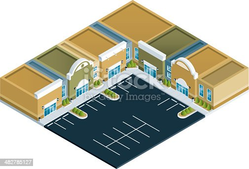 istock Isometric Strip Mall 482785127