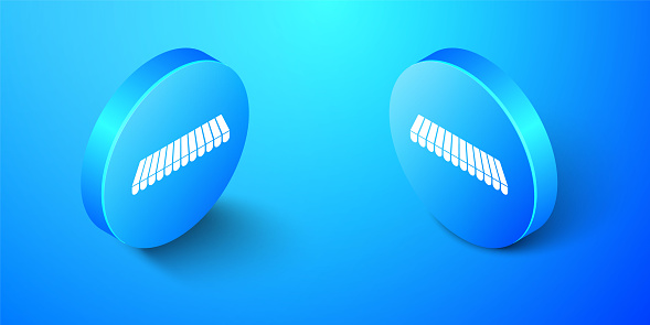 Isometric Striped awning icon isolated on blue background. Outdoor sunshade sign. Awning canopy for shops, cafes and street restaurants. Blue circle button. Vector