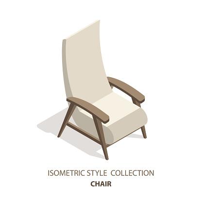Isometric style 3D vector illustration design interior armchair