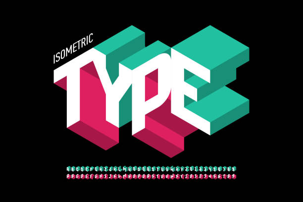 Isometric style font Isometric 3d font design, three-dimensional alphabet letters and numbers vector illustration three dimensional stock illustrations