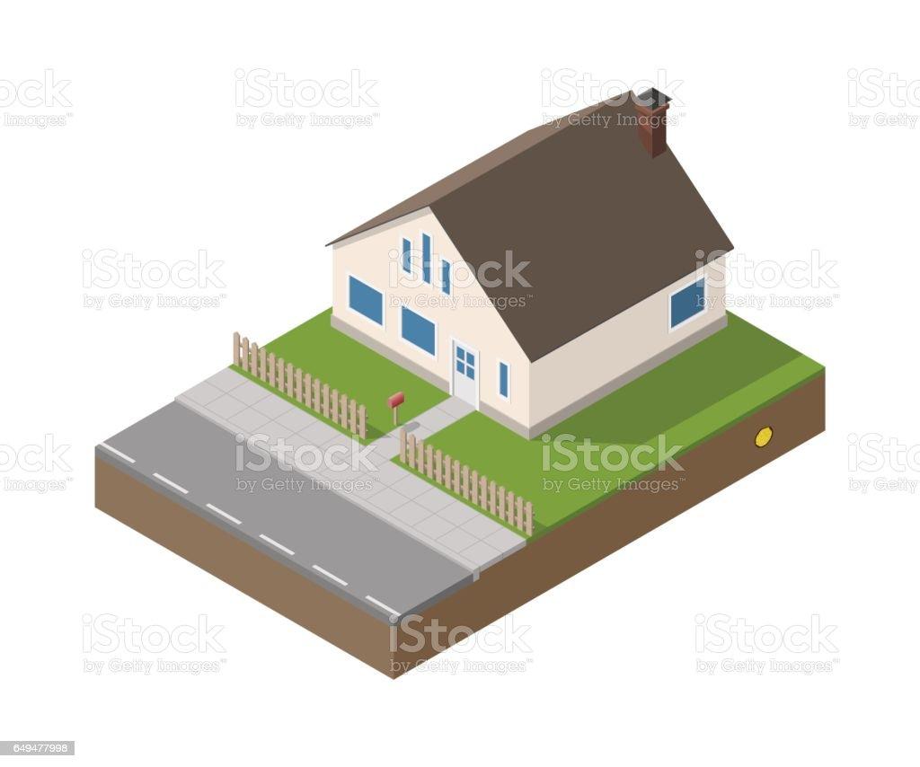 Isometric suburban beige house vector art illustration
