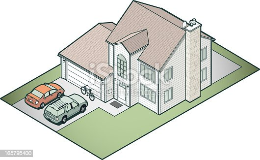Detailed suburban house in isometric view. Vehicles and other items are generic representations.