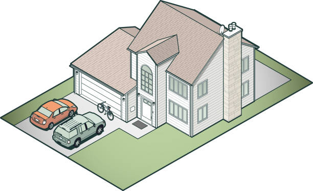 Isometric Suburban House Detailed suburban house in isometric view. Vehicles and other items are generic representations. driveway stock illustrations