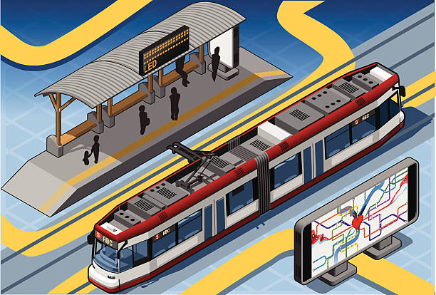 bildbanksillustrationer, clip art samt tecknat material och ikoner med isometric subway near platform roof and underground map - billboard train station