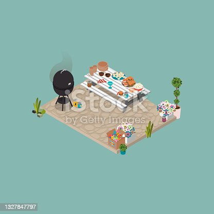 istock Isometric Summer Cook Out, BBQ, Picnic Illustration 1327847797
