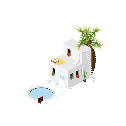 Isometric Summer House for Sale - Vacation House Icon