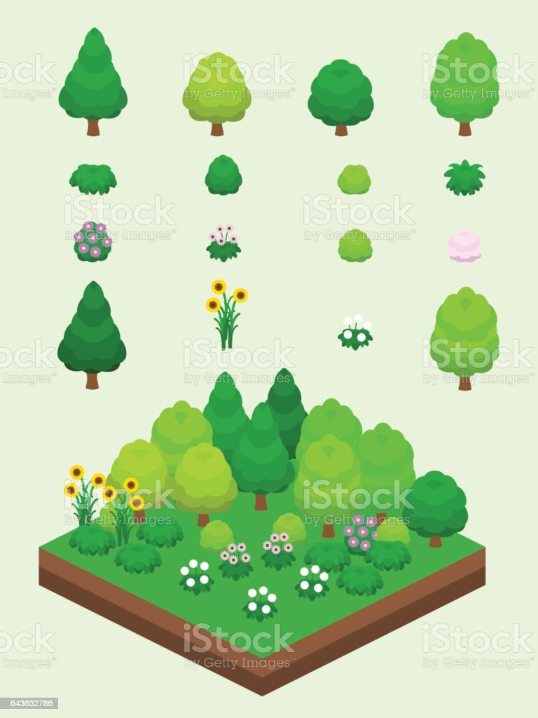 Isometric Summer Plants Set vector art illustration