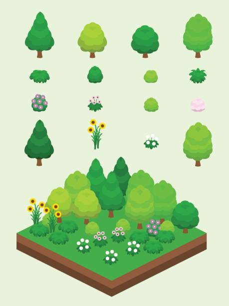 isometric summer plants set - куст stock illustrations
