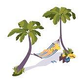 Isometric sunbathing girl on a hammock under palm trees