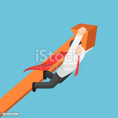 Flat 3d isometric super businessman carrying business graph up to the sky. Business success and leadership concept.