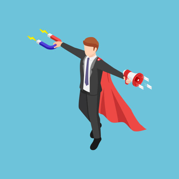 Isometric super businessman holding magnet and megaphone to promote his business vector art illustration
