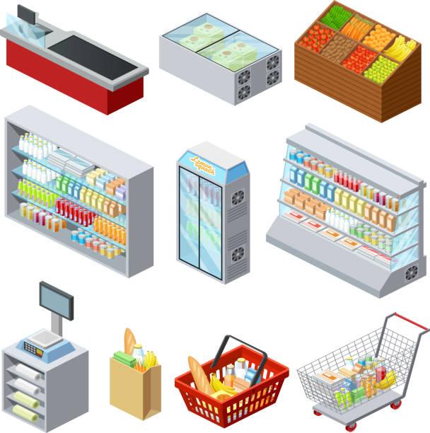 stockillustraties, clipart, cartoons en iconen met isometrische supermarktpictogrammen - bevroren voedsel