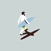Isometric surfer dude with surfboard walking on the beach.